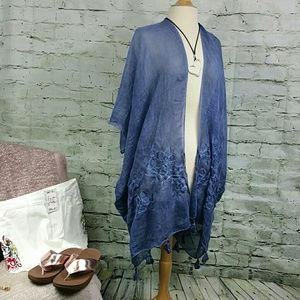 LAST ONE NWT Boho Cover Up Kimono Blue S-3X